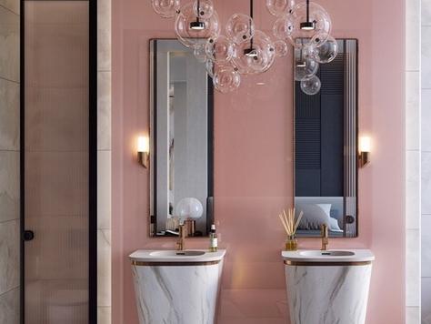 """Дизайн интерьера ванной в Краснодаре """"Розовые стильные ванные комнаты"""""""